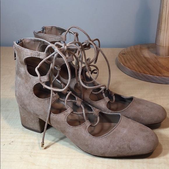 7f3c5b0818a6 Aldo tan microsuede lace up block heel shoe